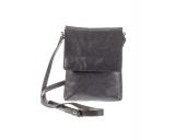Černá kožená kabelka Heliman malý klopa