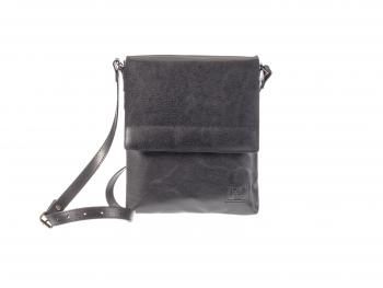 Dámská pánská černá kožená kabelka Helimann velká půlklopa