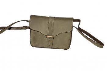 Olivová dámská kožená kabelka