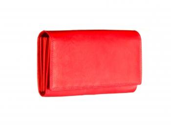 Červená dámská kožená peněženka