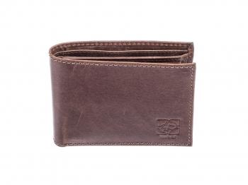 Hnědá pánská kožená peněženka ležatá