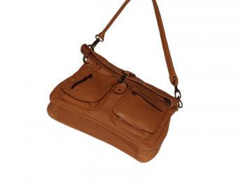 Rezavá kožená kabelka