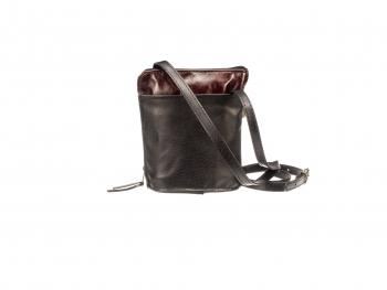 Malá černá a hnědá kožená kabelka
